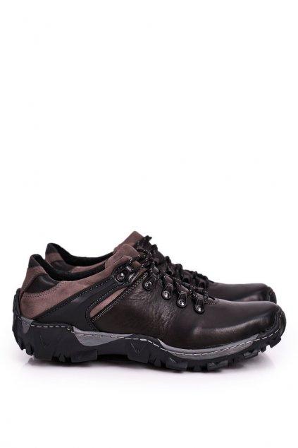Pánske trekingové topánky farba čierna kód obuvi 116 BLK