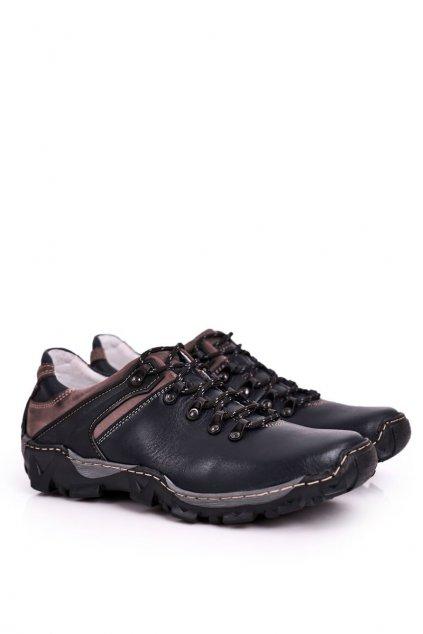 Pánske trekingové topánky farba modrá kód obuvi 116 NAVY