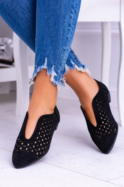 Lu Boo semišove Čierne dámske topánky Synthia