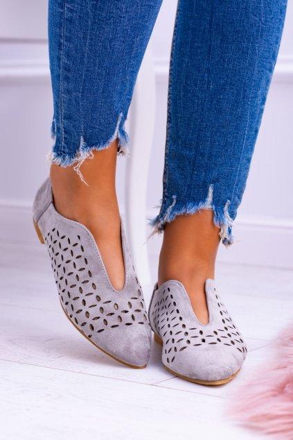 Lu Boo semišove sivé dámske topánky Synthia