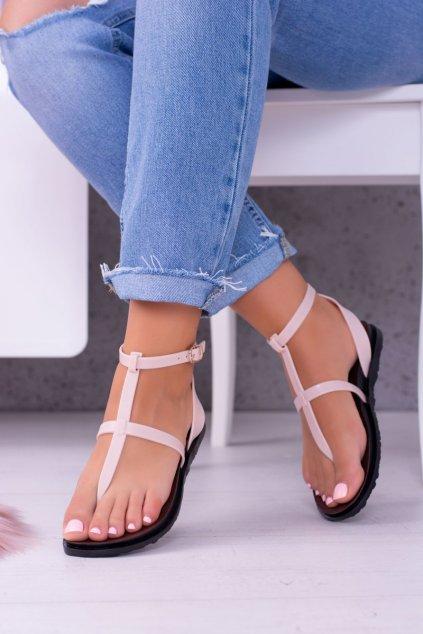 Dámske sandále s plochou podrážkou farba hnedá kód obuvi LS01 BEI