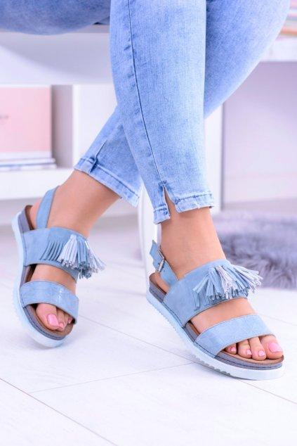 Dámske modré kožené Sandále Majka 03604