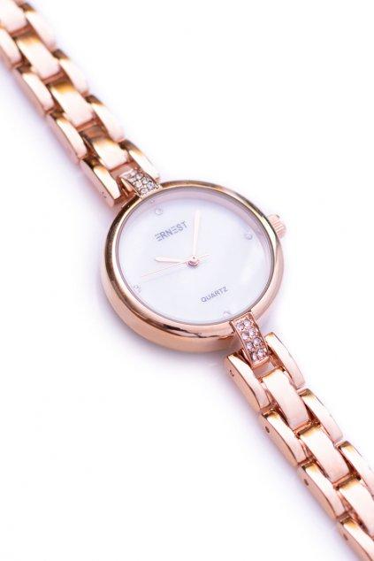 Ernest Dámske ružové zlaté hodinky GoldCrystal