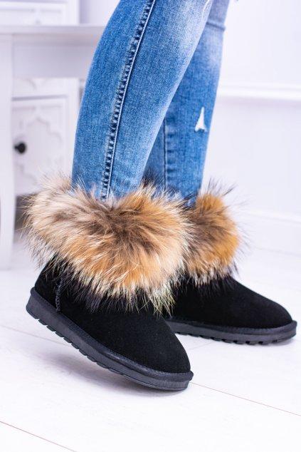Dámske členkové topánky kožené Snehule s Kožichy čierne Snow Fox
