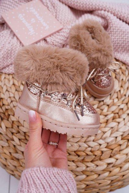 Champagne Teplé detské členkové topánky s kožušinou Crystal Fox