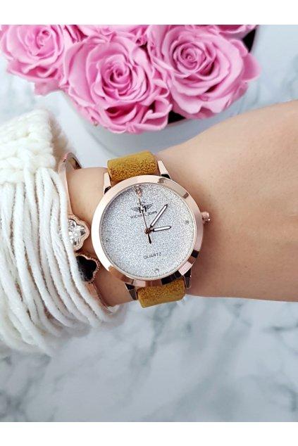 Dámske hodinky Michael John Evento farba horčicová semišový popruh s brokátom
