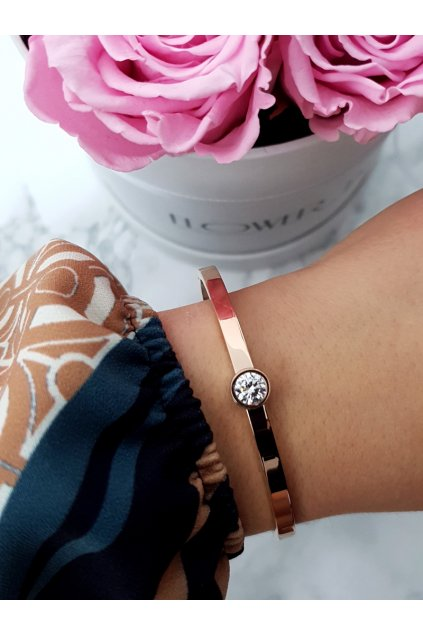 Dámsky náramok Ocel so zirkónmi ružové zlato Gemma