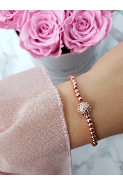 Dámsky náramok s přívesek ružové zlato Atria