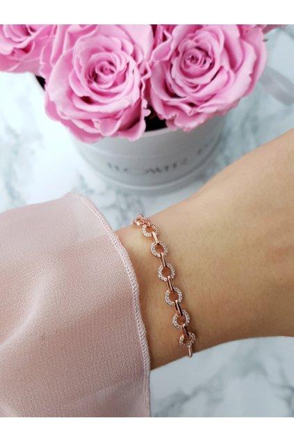 Dámsky náramok na reťazi Malé kolieska ružové zlato Fiore