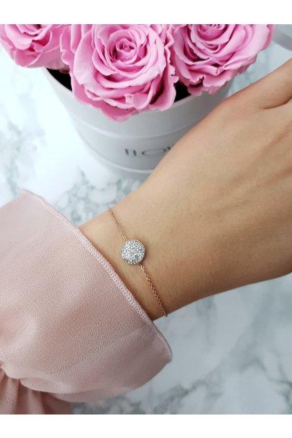 Dámsky náramok na retiazke kruh ružové zlato Selene