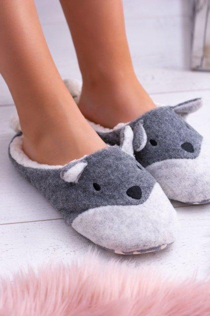 Dámske šľapky farba sivá kód obuvi 68346A GREY