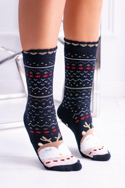 Dámske vianočné ponožky protiskluzové čierne se sobem