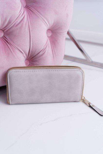 Dámska peňaženka veľká šedá zlatý dekoratívny posuvník