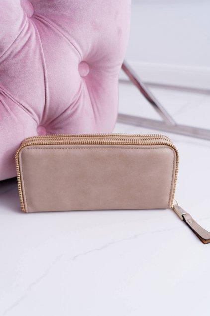 Dámska peňaženka veľká béžová zlatý dekoratívne zips
