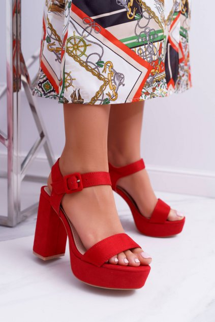 Dámske Sandále na podpätku červené LaMondes