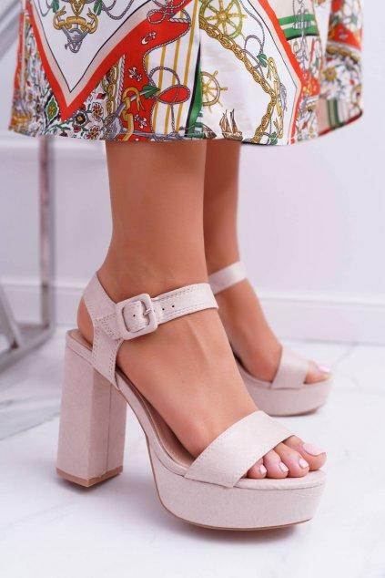 Dámske Sandále na podpätku Béžové LaMondes