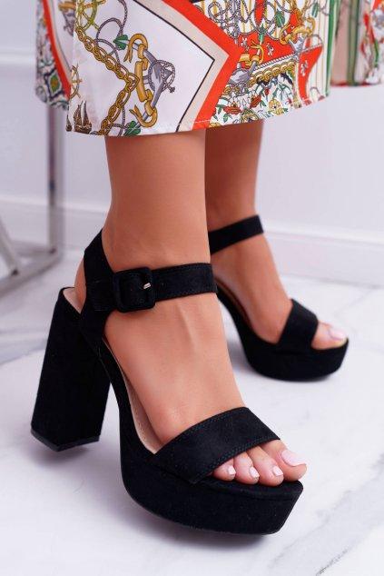 Dámske Sandále na podpätku čierne LaMondes