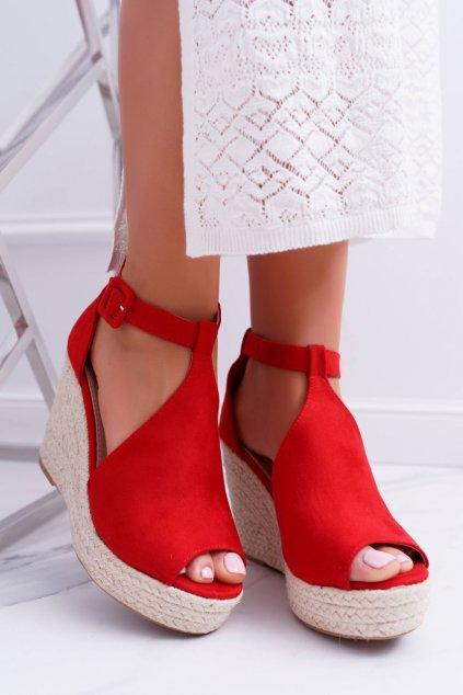 Dámske Sandále na platforme červené Begest