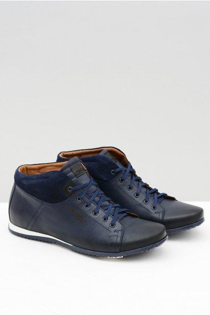 Modré pánske kožené topánky poľské topánky NIKOPOL
