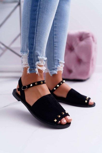 Dámske sandále s plochou podrážkou farba čierna kód obuvi 108-B15 BLK