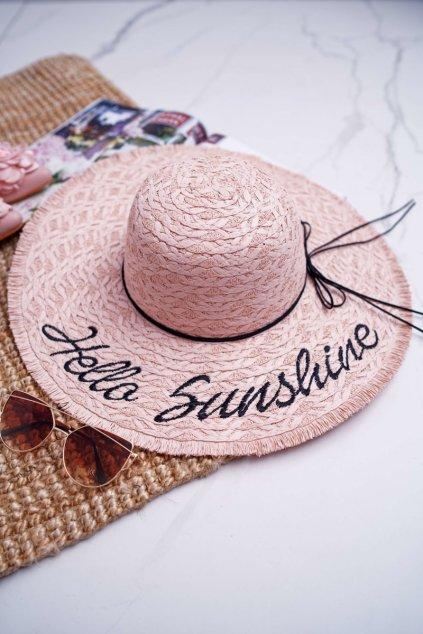 Dámsky slamený klobouk ružový Hello Sunshine