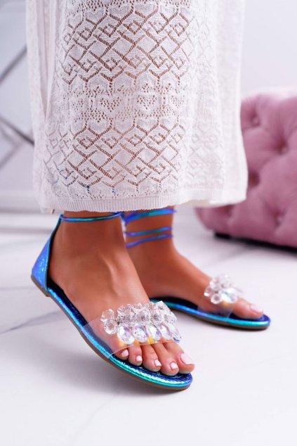 Dámske sandále s plochou podrážkou farba modrá kód obuvi SF22 BLUE