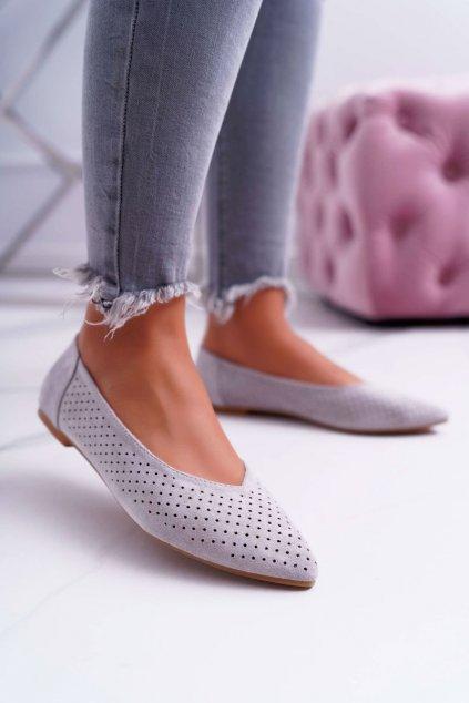 Dámske balerínky farba sivá kód obuvi A978-231 GREY