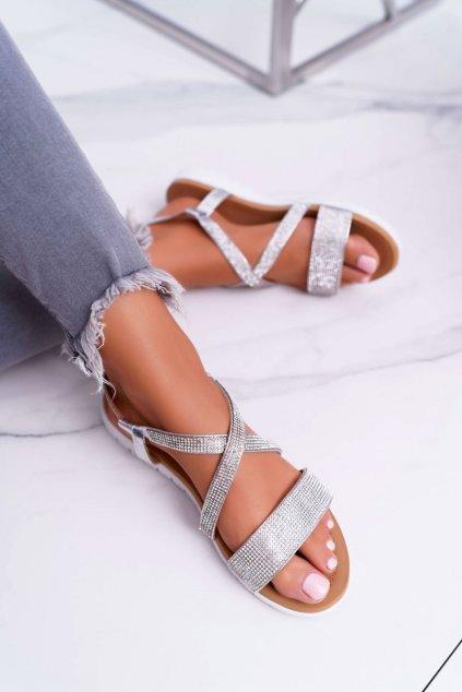 Dámske Sandále Lu Boo so zirkónmi 406-5 strieborné Stella