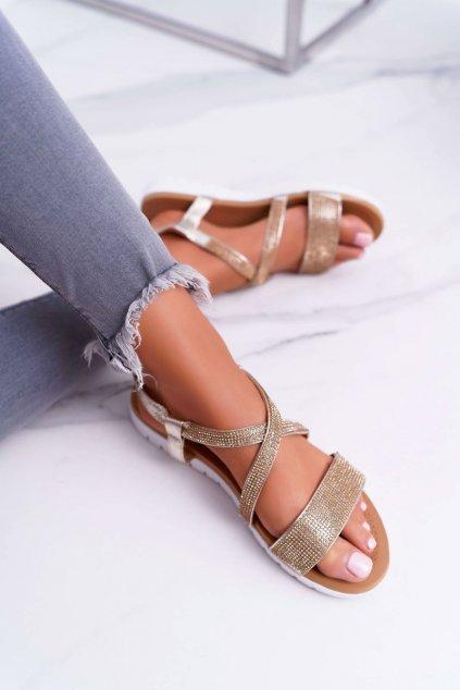 Dámske ploché sandále farba žltá kód obuvi 406-5 GOLD