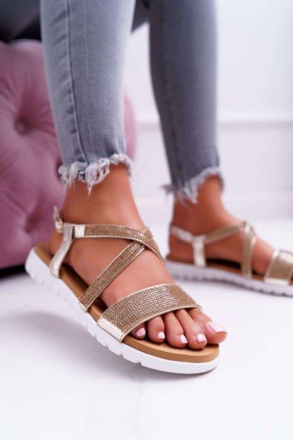 Dámske sandále s plochou podrážkou farba žltá kód obuvi 406-5 GOLD
