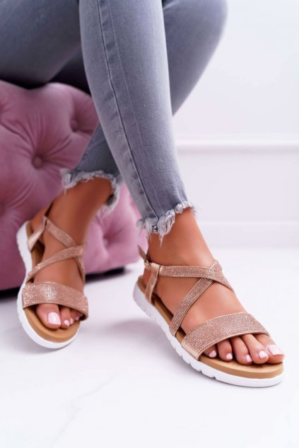 Dámske ploché sandále farba ružová kód obuvi 406-5 CHAMPAGNE
