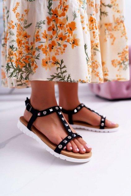Dámske ploché sandále farba čierna kód obuvi 108-1 BLK