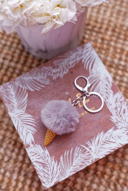 Přívesek na klíče šedý Zmrzlina