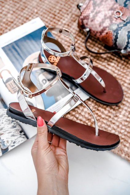 Dámske ploché sandále farba sivá kód obuvi LS01 SILVER