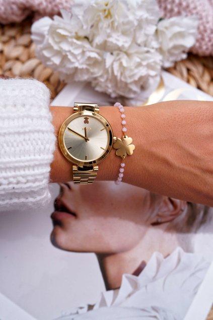 Dámsky retiazkový náramok zlatý ružové korály štvorlístok Chaser