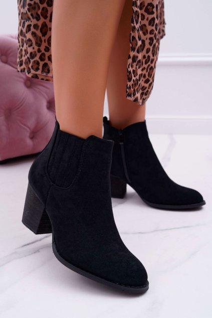 Dámske členkové topánky na podpätku Semišové čierne Gomen