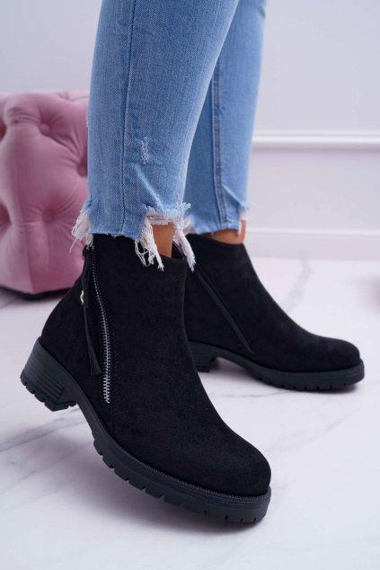 Dámske členkové topánky s dvomi zipsmi semišové čierne Ohoo