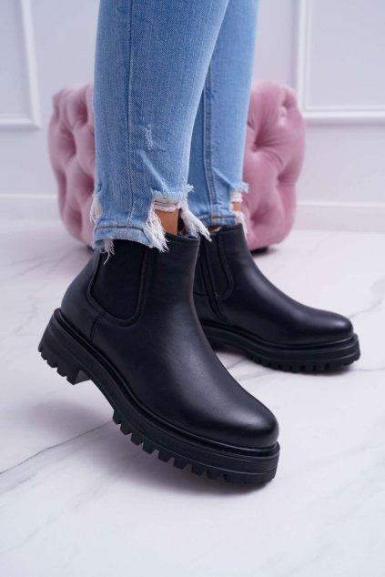 Dámske členkové nízke topánky zateplené čierne Orion
