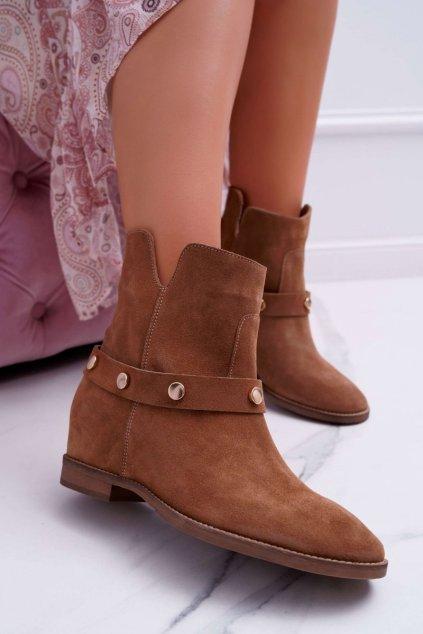 Členkové topánky na podpätku farba hnedá kód obuvi 1890 D.CAMEL 148