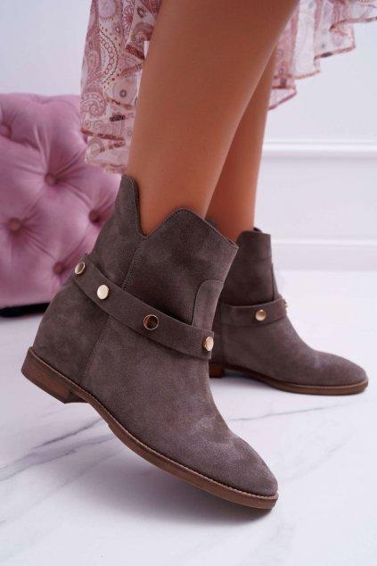 Členkové topánky na podpätku farba sivá kód obuvi 1890 GREY 146