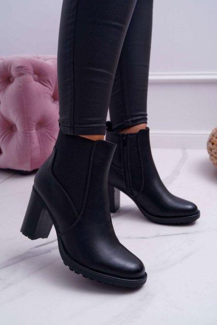 Dámske členkové topánky na podpätku s čierne Beloved