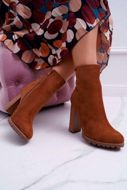 Členkové topánky na podpätku farba hnedá kód obuvi 9BT35-1486 CAMEL