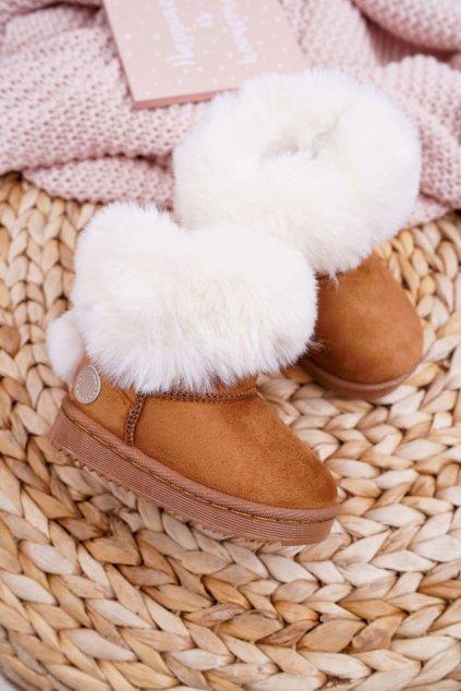 Detské snehule farba hnedá kód obuvi 20232-1D/2D CAMEL