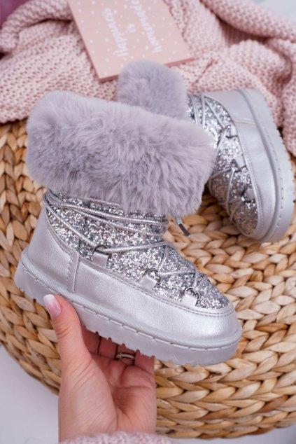 Detské zateplené snehule strieborné s kožušinou Crystal Fox