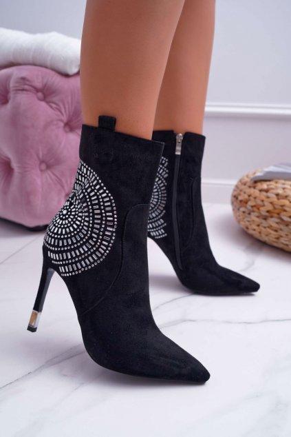Dámske topánky na podpätku Semišové čierne Fashionable