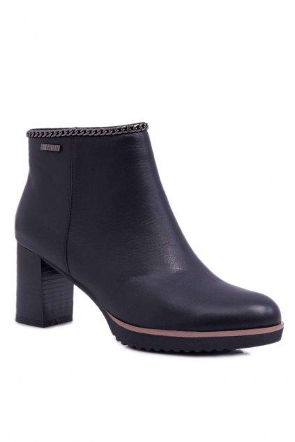 Dámske členkové topánky na podpätku Kožené B. Star BB274618