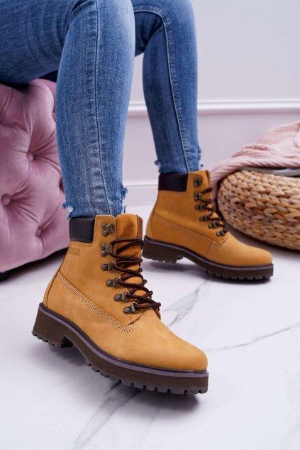 Členkové topánky na podpätku farba hnedá kód obuvi EE274035 CAMEL