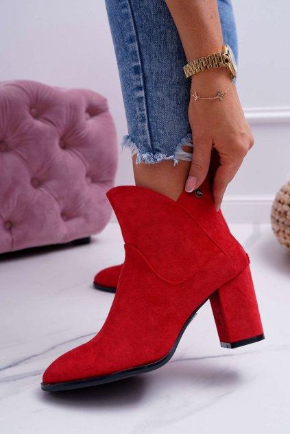 Členkové topánky na podpätku farba červená kód obuvi BT525 RED MIC
