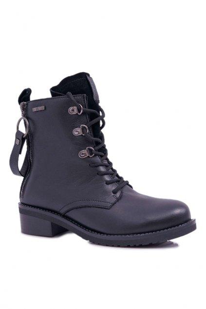 Dámske členkové topánky B. Star Kožené čierne EE274506