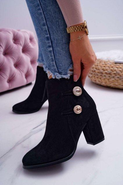 Členkové topánky na podpätku farba čierna kód obuvi 73-2 BLK
